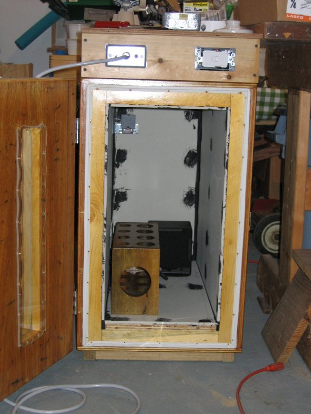 Inside view with propellant curing rack and heater